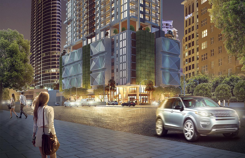 Las Olas - ilustração digital 3d de fachada em fort lauderdale